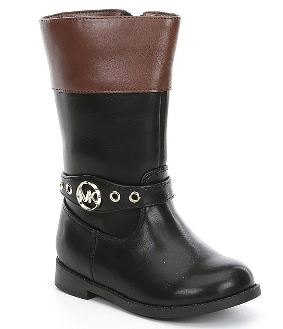 Color:Black Brown - Image 1 - MICHAEL Michael Kors Girls' Emma Derby-T Riding Boot