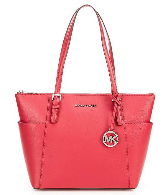 Color:Dark Raspberry - Image 1 - Jet Set East West Silver Tone Tote Bag