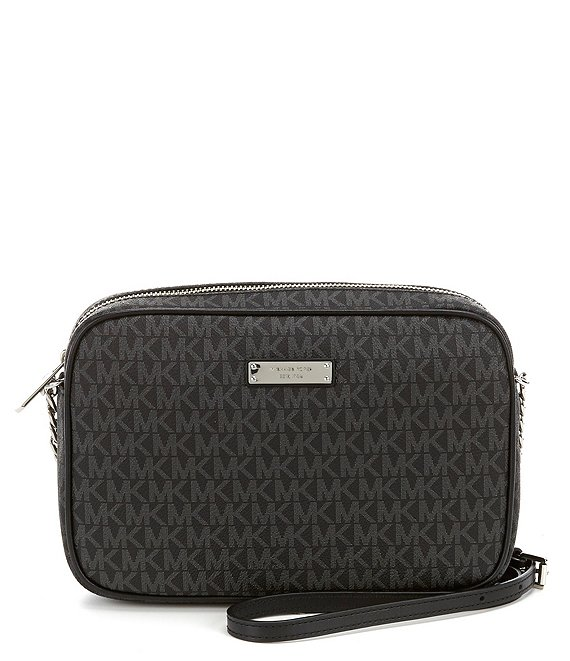 Color:Black - Image 1 - MICHAEL Michael Kors Large Jet Set Signature East/West Crossbody Bag