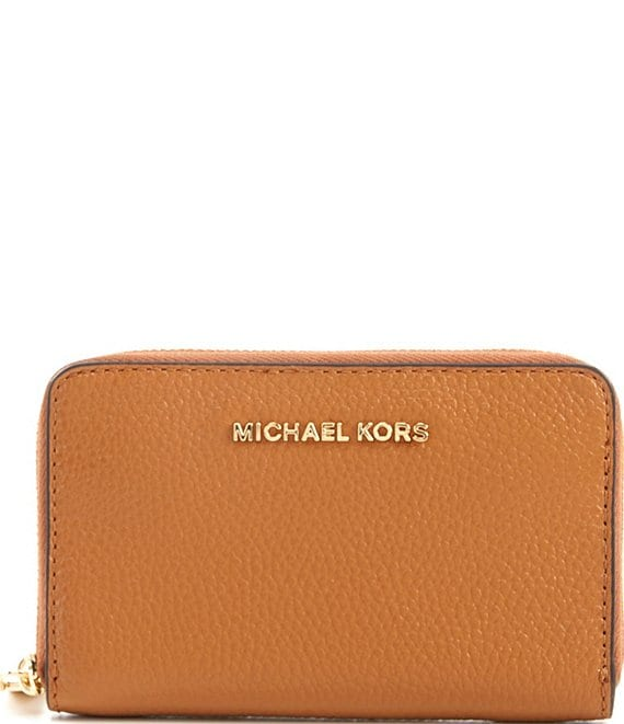 Color:Acorn - Image 1 - Jet Set Small Zip Around Leather Card Case