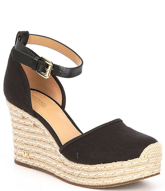 Color:Black - Image 1 - MICHAEL Michael Kors Kendrick Weaved Canvas Espadrille Wedges