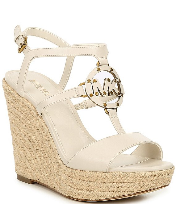 Color:Light Cream - Image 1 - MICHAEL Michael Kors Kerry Leather Espadrille Wedges