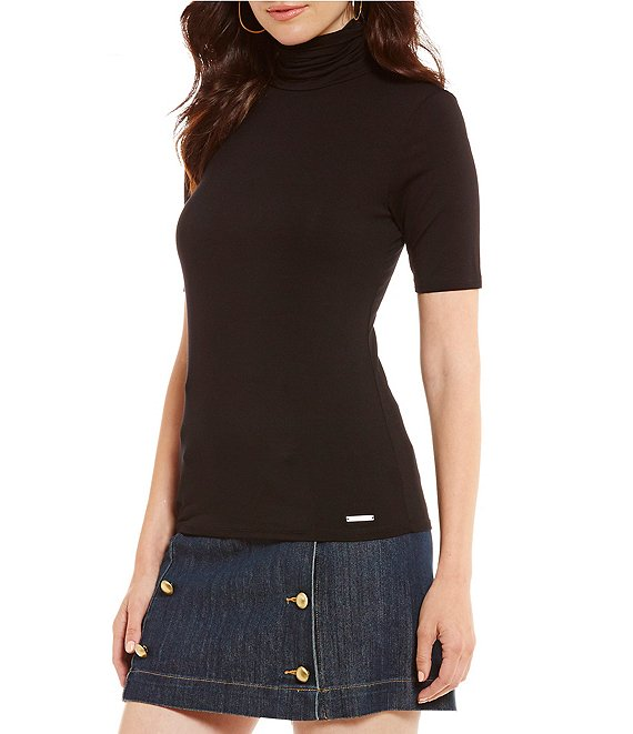 MICHAEL Michael Kors Knit Jersey Short Sleeve Turtleneck Top