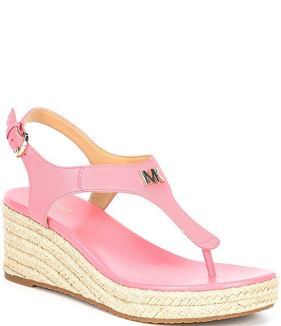 Color:Tea Rose - Image 1 - MICHAEL Michael Kors Laney Leather Thong Espadrille Wedges