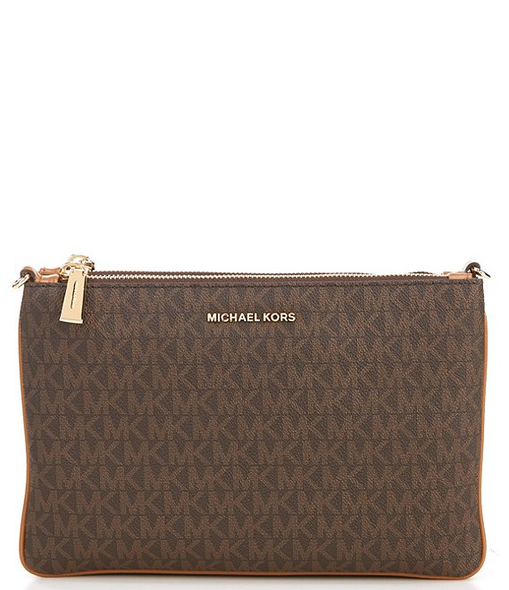 Color:Brown - Image 1 - MICHAEL Michael Kors Signature Large Double Pouch Crossbody Bag