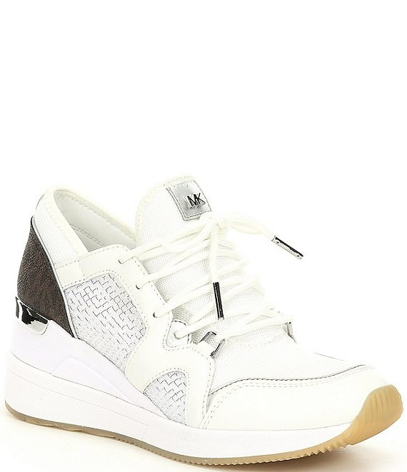 Color:Optic White Multi - Image 1 - MICHAEL Michael Kors Liv Lace-Up Wedge Trainers