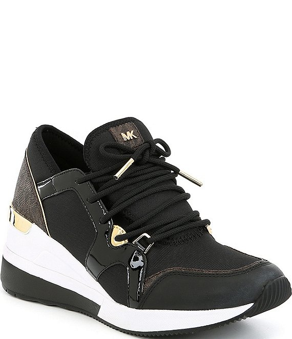Color:Black - Image 1 - MICHAEL Michael Kors Liv Trainer Canvas Sneakers