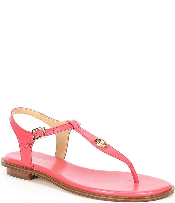 Color:Light Berry Sorbet - Image 1 - MICHAEL Michael Kors Mallory Leather Thong Sandals