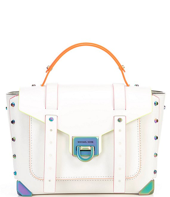 Color:Optic White - Image 1 - Manhattan Medium Top Handle School Satchel Bag