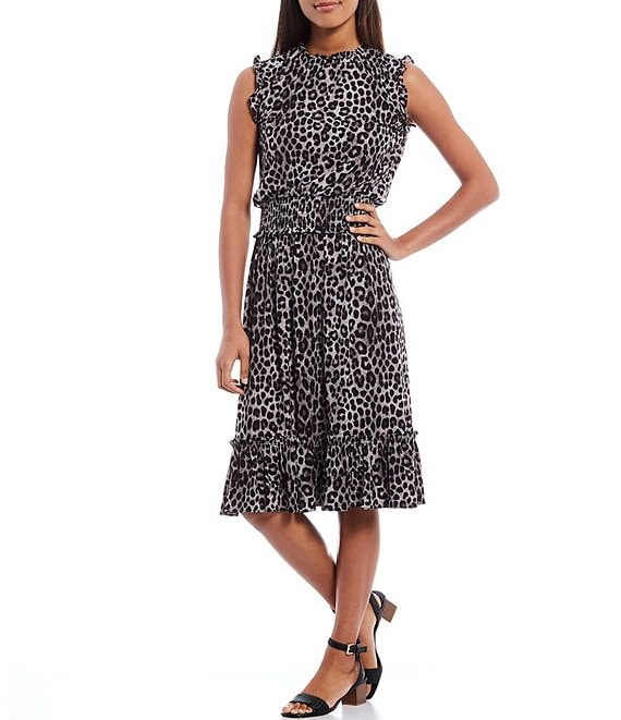 MICHAEL Michael Kors Mega Cheetah Print Matte Jersey Ruffle Mock Neck Sleeveless Smocked Midi Dress