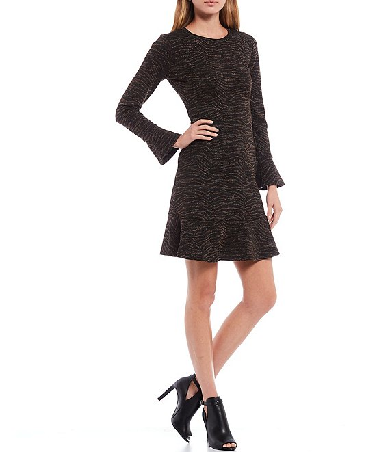 Color:Caramel - Image 1 - MICHAEL Michael Kors Metallic Animal Jacquard Flounce Sleeve Tubular Trim A-Line Dress