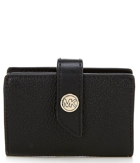 Michael Kors MK Charm Small Tab Pebble Leather Card Case
