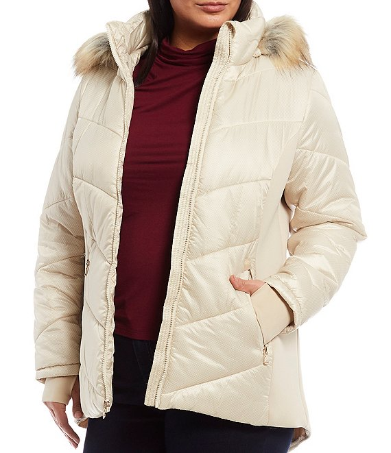 MICHAEL Michael Kors Plus Size Faux Fur Trimmed Water Resistant Hooded Puffer Coat