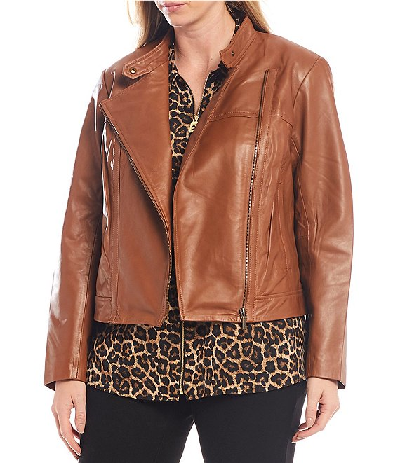 Color:Luggage - Image 1 - MICHAEL Michael Kors Plus Size Genuine Leather Moto Jacket