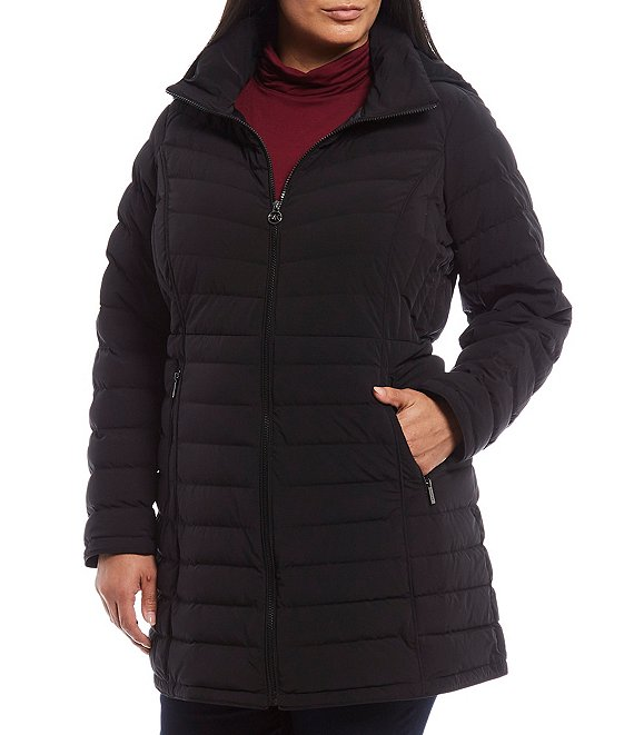 MICHAEL Michael Kors Plus Size Packable Down Hooded Quilt Coat