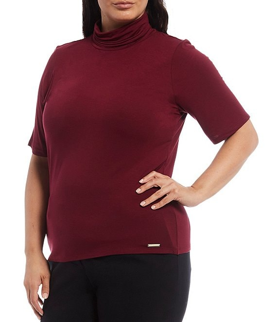 Color:Dark Ruby - Image 1 - MICHAEL Michael Kors Plus Size Solid Knit Jersey Turtle Neck Short Sleeve Top