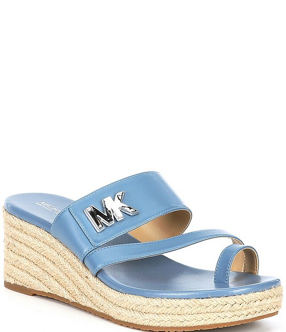 Color:Denim - Image 1 - MICHAEL Michael Kors Sidney Leather Espadrille Wedges