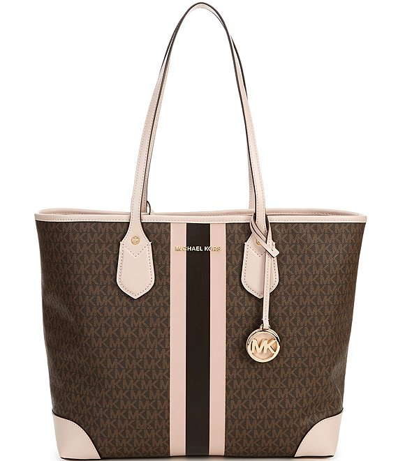 Color:Brown/Soft Pink - Image 1 - MICHAEL Michael Kors Signature Eva Large Tote Bag