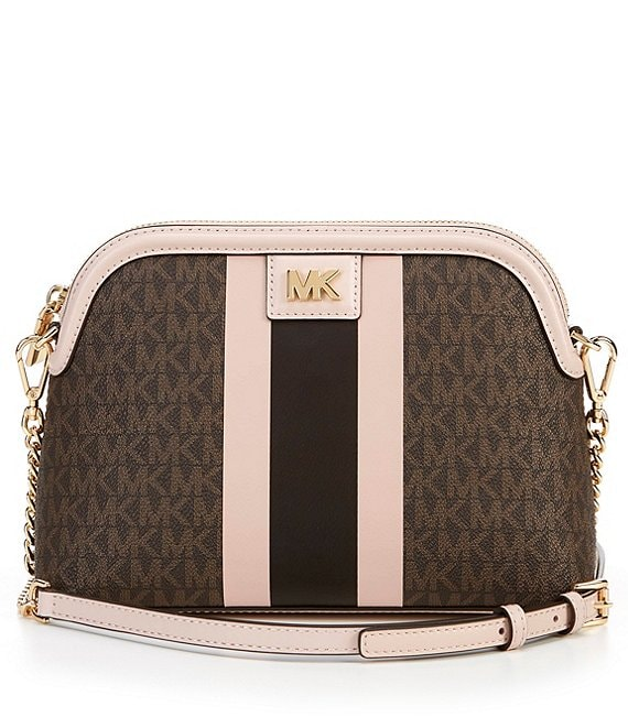Color:Brown/Soft Pink - Image 1 - MICHAEL Michael Kors Signature Mott Large Zip Dome Crossbody Bag