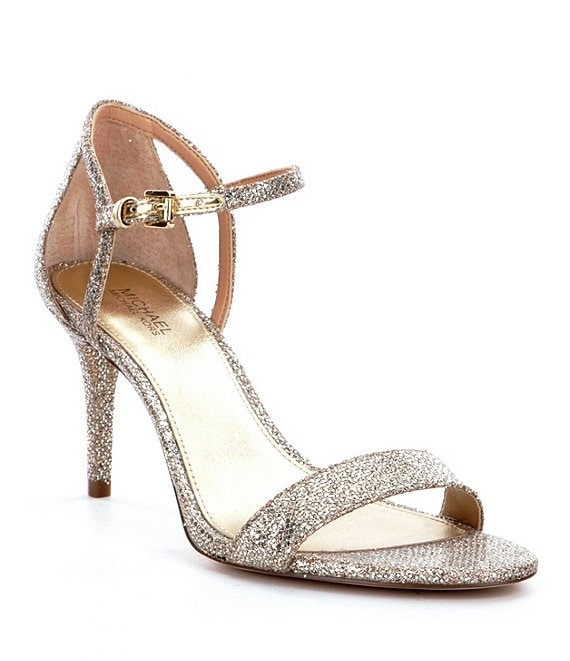 Color:Silver/Sand - Image 1 - MICHAEL Michael Kors Simone Glitter Ankle Strap Dress Sandals