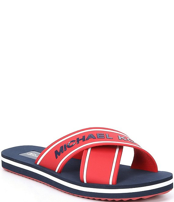 Color:Crimson - Image 1 - MICHAEL Michael Kors Sparrow Logo Slides