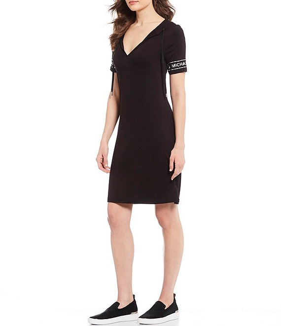 Color:Black - Image 1 - MICHAEL Michael Kors Stretch Knit Jersey Logo Sleeve Trim Hoodie Dress