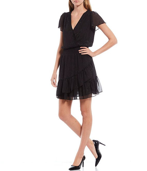 Color:Black - Image 1 - MICHAEL Michael Kors Tonal Shimmer Crinkle Georgette Flutter Sleeve Faux Wrap Dress