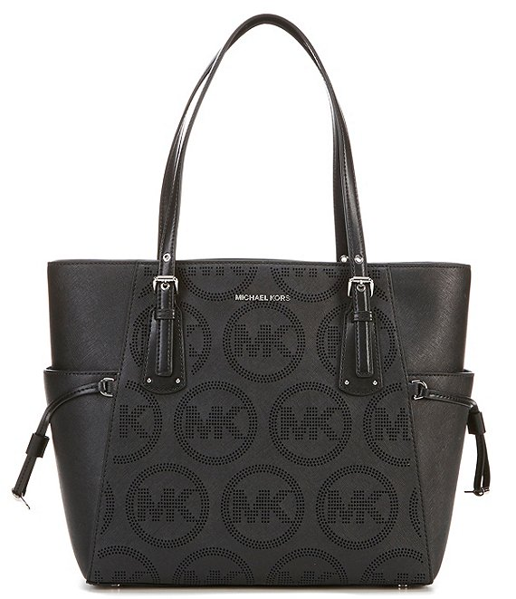 Color:Black - Image 1 - MICHAEL Michael Kors Voyager East West Signature Leather Tote Bag