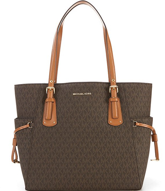 Color:Brown - Image 1 - MICHAEL Michael Kors Voyager Signature Colorblock Tote Bag