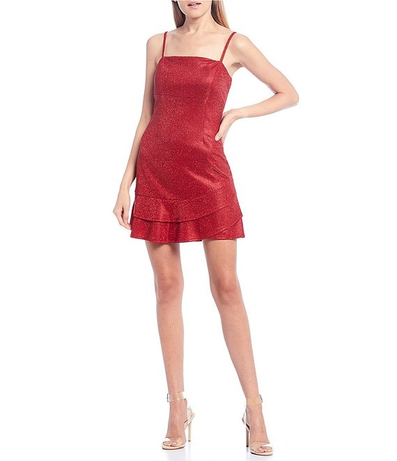 Color:Red - Image 1 - Spaghetti Shimmer Ruffle Hem Dress