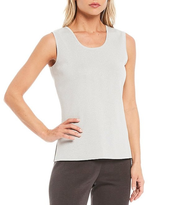 Color:Silver - Image 1 - Glitz Sparkle Sleeveless Scoop Neck Tank