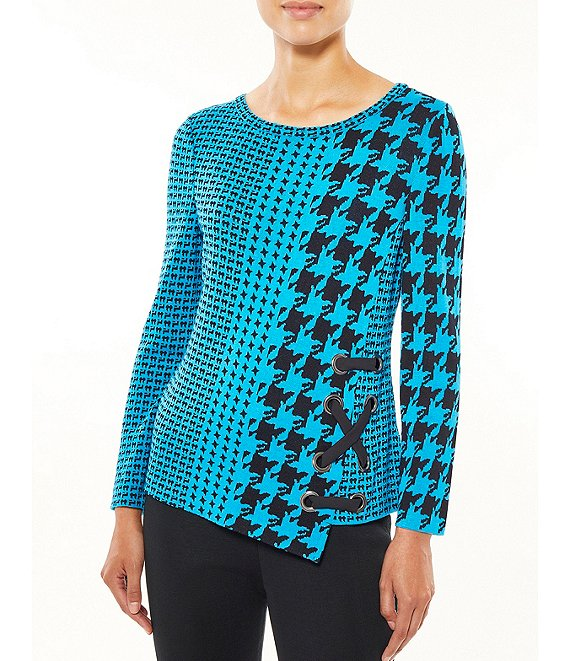 Color:Palisade Blue/Black - Image 1 - Long Sleeve Asymmetric Hem Houndstooth Tunic