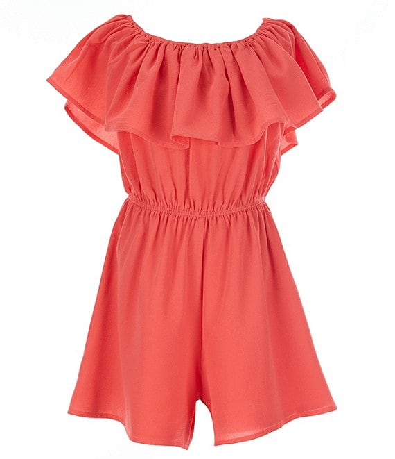 Color:Pink - Image 1 - Big Girls 8-14 Off-The-Shoulder Ruffle Romper