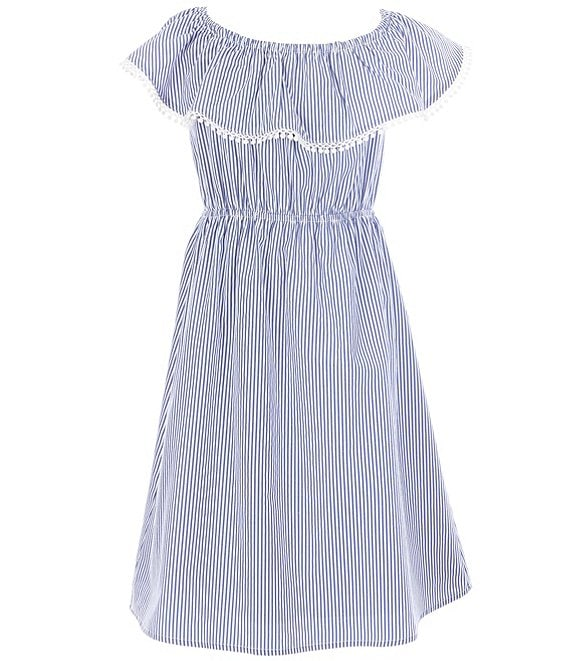 Color:Navy - Image 1 - Big Girls 8-14 Off-the-Shoulder Stripe A-Line Dress