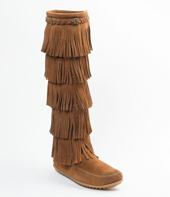 Color:Dusty Brown - Image 1 - 5-Layer Fringe Suede Boots