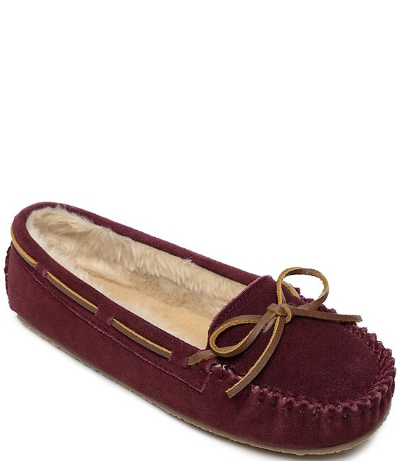 Color:Bordeaux - Image 1 - Cally Suede Moccasin with Faux Fur Trim Slippers