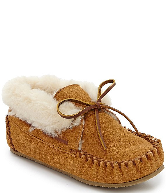 Minnetonka Kids' Charley Suede Faux Fur-Lined Booties