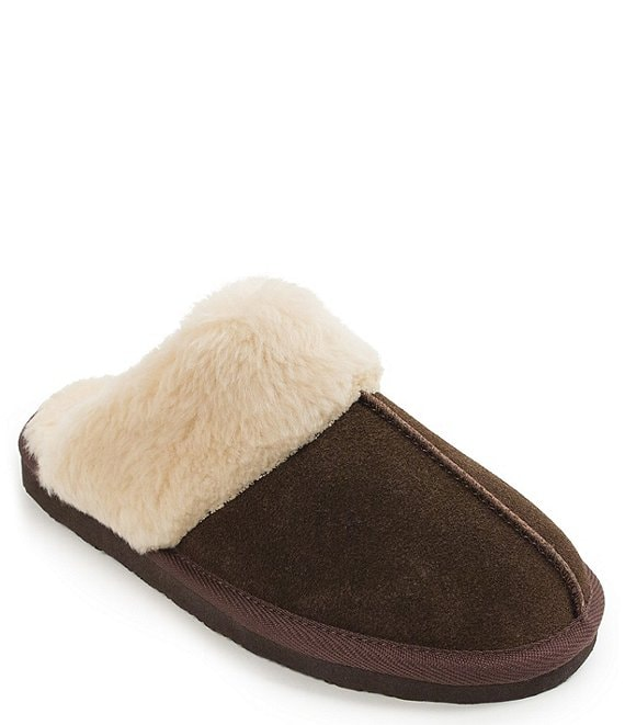 Color:Chocolate - Image 1 - Chesney Faux Shearling Scuff Slippers