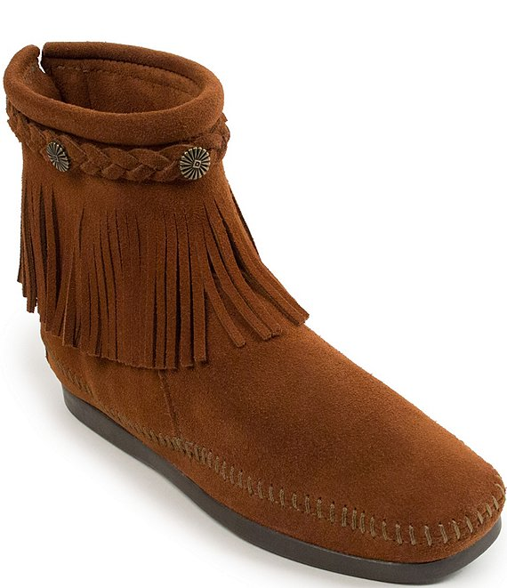 Color:Brown - Image 1 - Concho Suede Fringe Boots