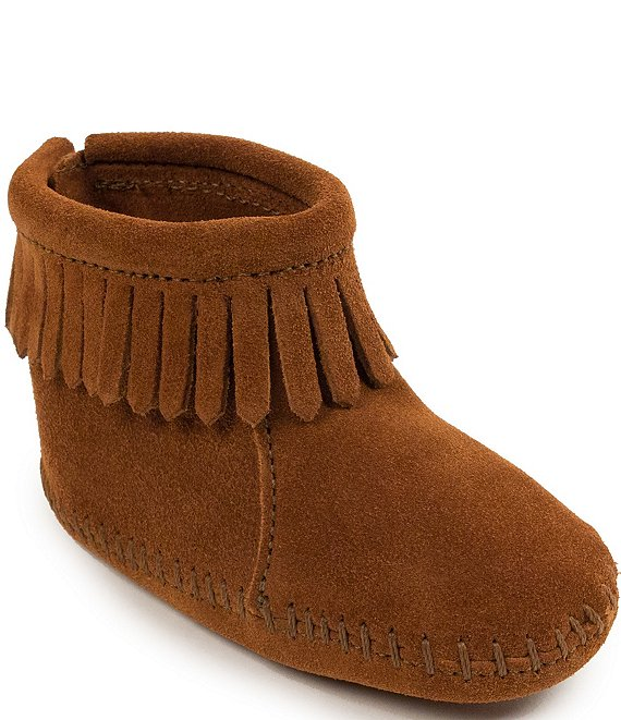 Color:Brown - Image 1 - Kids' Back Flap Bootie Crib Shoe (Infant)
