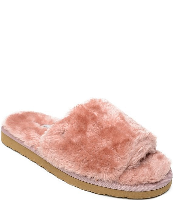 Color:Blush - Image 1 - Lolo Faux Fur Slides