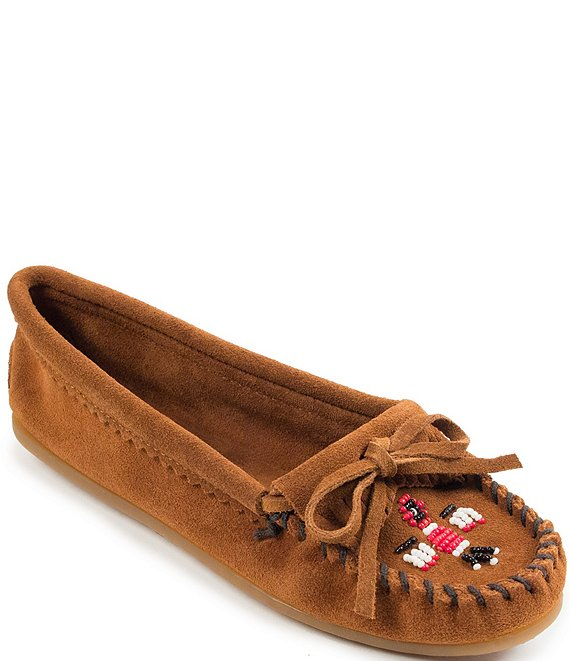 Color:Brown - Image 1 - Thunderbird II Beaded Suede Moccasins
