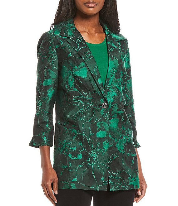 Color:Putting Green/Black - Image 1 - Floral Jacquard 3/4 Sleeve Notch Lapel Jacket