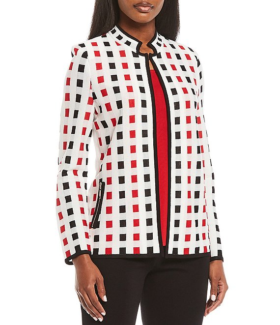 Color:New Ivory/Apple Red/Black - Image 1 - Long Sleeve Multi Square Zip Pocket Jacket