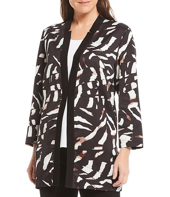 Color:Black/Macchiato/White - Image 1 - Notched Collar Abstract Animal Print Jacket