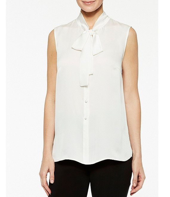 Color:White - Image 1 - Sleeveless Tie Neck Washable Blouse