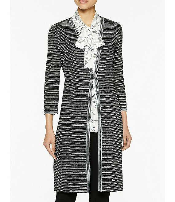 Color:Black/Pewter Grey/White - Image 1 - Striped Jacquard Knit V-Neck 3/4 Sleeve Mid Length Jacket