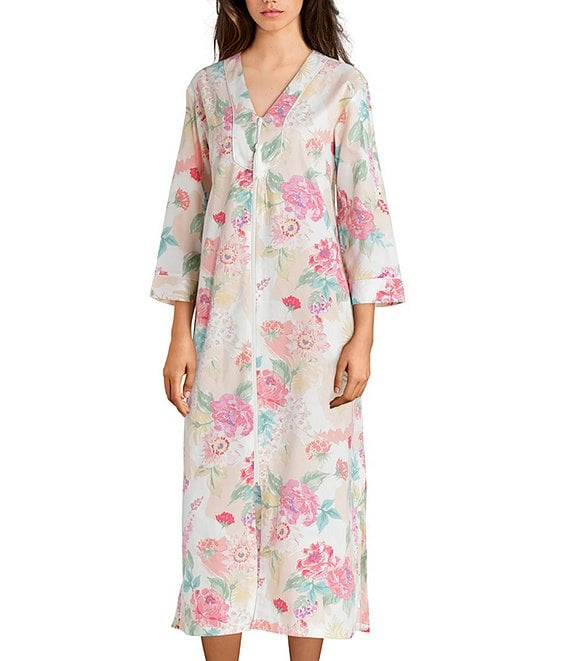 Miss Elaine Floral-Printed Sateen Long Zip-Front Robe