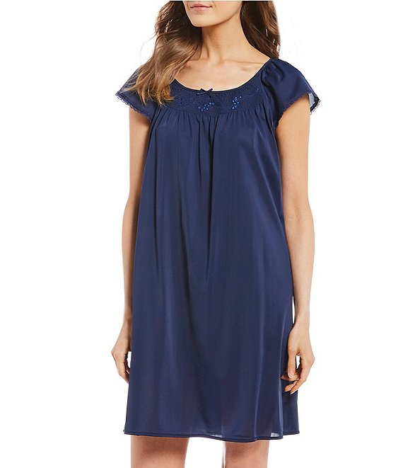 Color:Dark Navy - Image 1 - Embroidered Flutter-Sleeve Short Nightgown