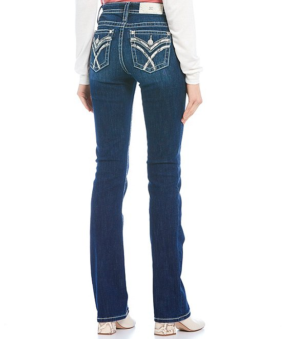 Color:Dark Blue - Image 1 - Cross Trim Flap Pocket Slim Bootcut Jeans
